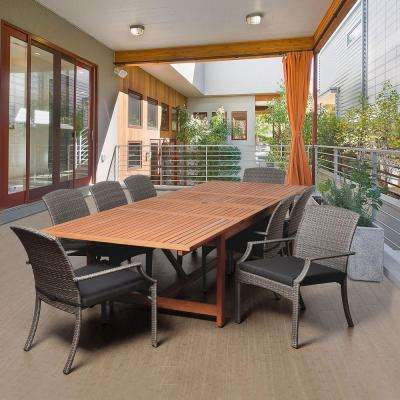 Anthonys 9-Piece Eucalyptus Extendable Rectangular Patio Dining Set with Grey Cushions