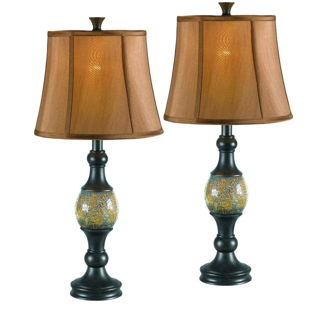 Kenroy home shay 29 in bronze table lamp set 2 pack 21097brz bronze table lamp set 2 pack 21097brz the home depot geotapseo Choice Image