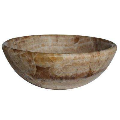 Round Natural Stone Vessel Sink In Gold