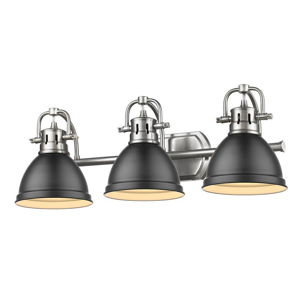 Duncan 3-Light Pewter Bath Light with Matte Black Shade