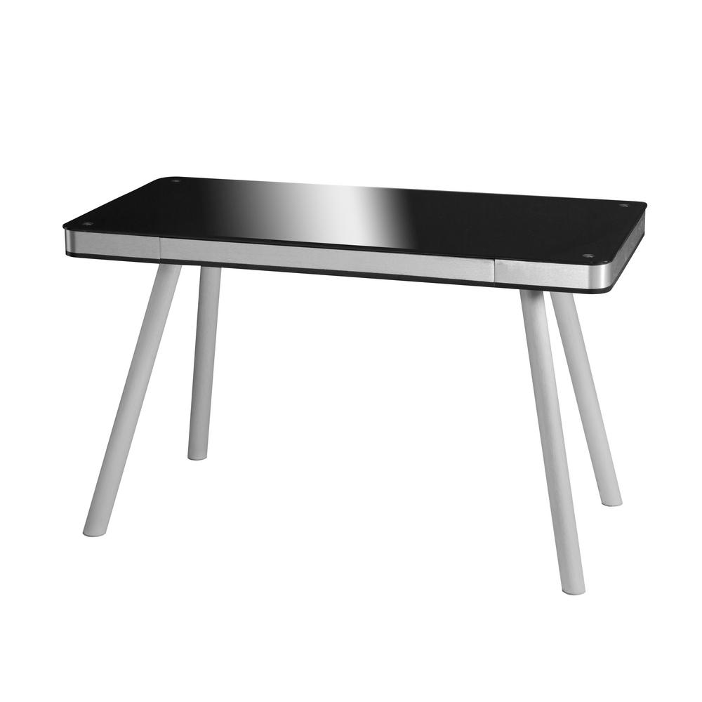 Ordinaire OneSpace Black Glass Writing Desk With Brushed Aluminum Frame