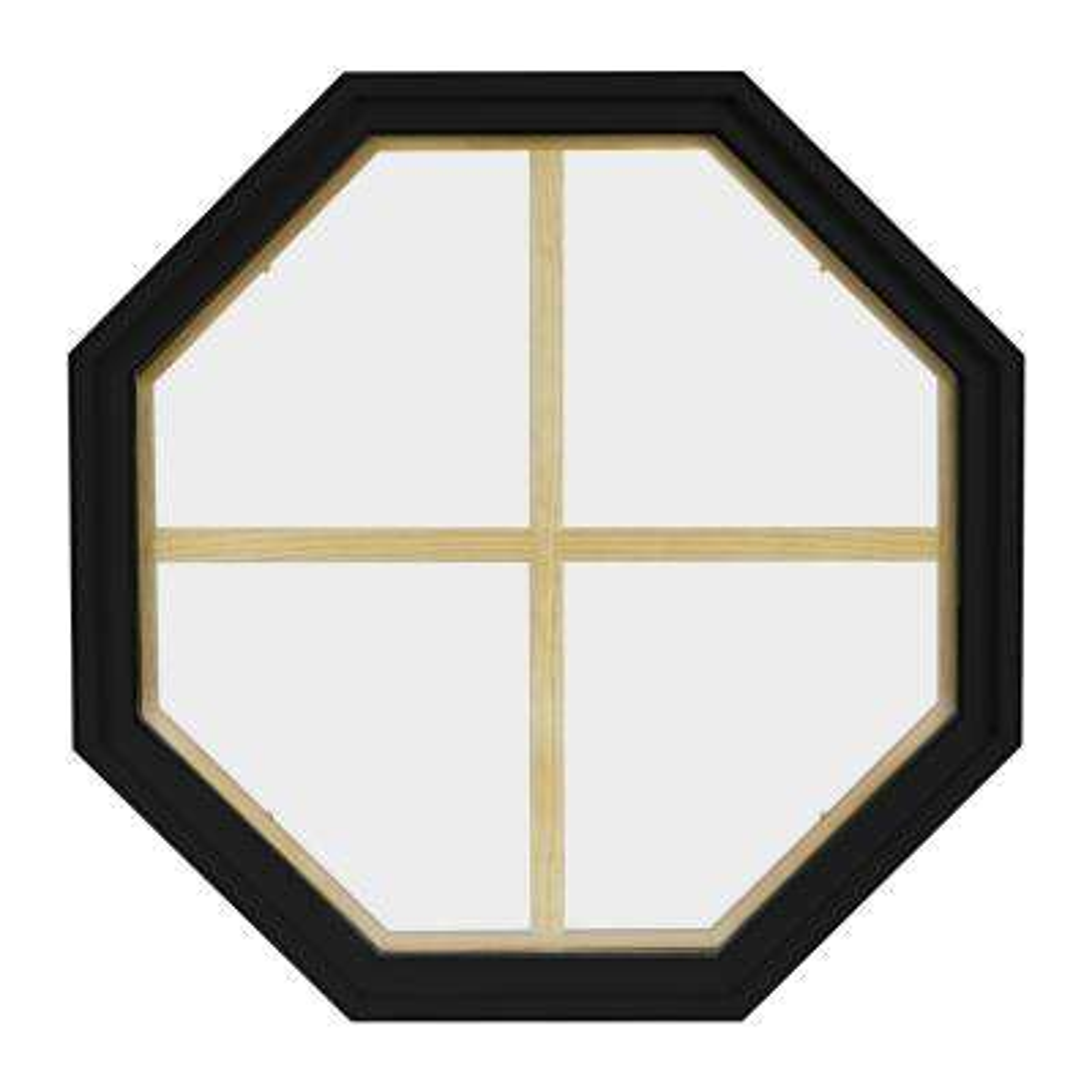 36 in. x 36 in. Octagon Black 6-9/16 in. Jamb 4-Lite Grille Geometric Aluminum Clad Wood Window