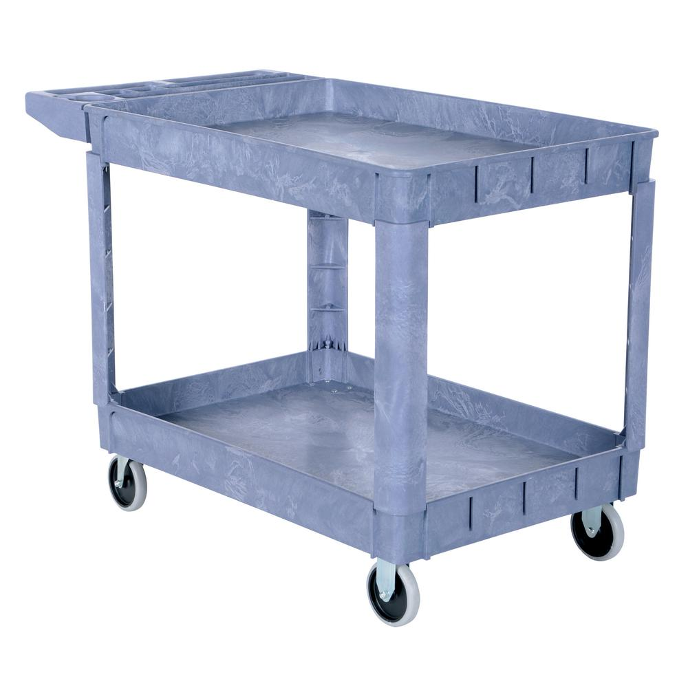 Vestil 24.5 in. x 36 in. 2 Shelf Plastic Utility Cart