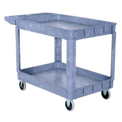 24.5 in. x 36 in. 2 Shelf Plastic Utility Cart