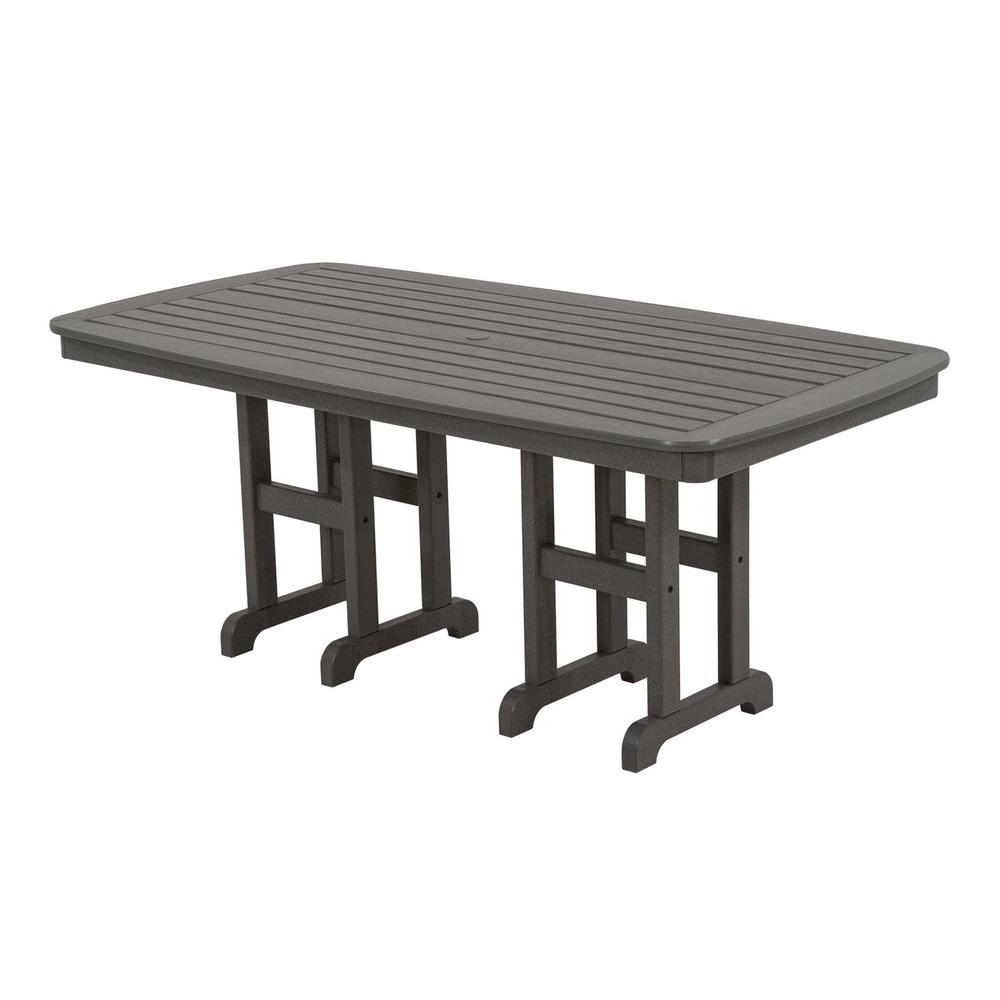 Nautical 37 in. x 72 in. Slate Grey Patio Dining Table