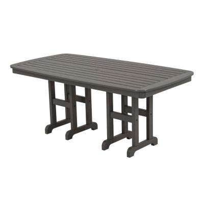 Nautical 37 in. x 72 in. Slate Grey Plastic Outdoor Patio Dining Table