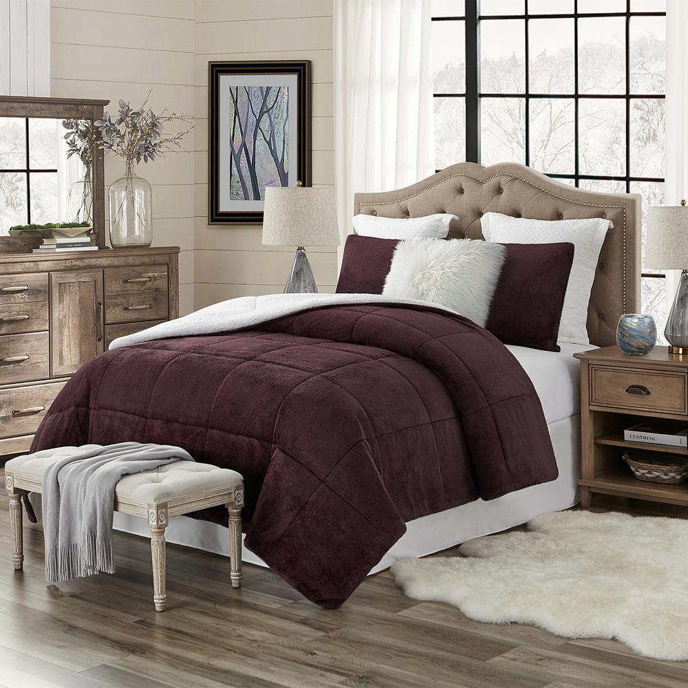 Premium Ultra-Soft 3-Piece Wine Faux Fur Reverse to Sherpa King/California King Comforter and Sham Set
