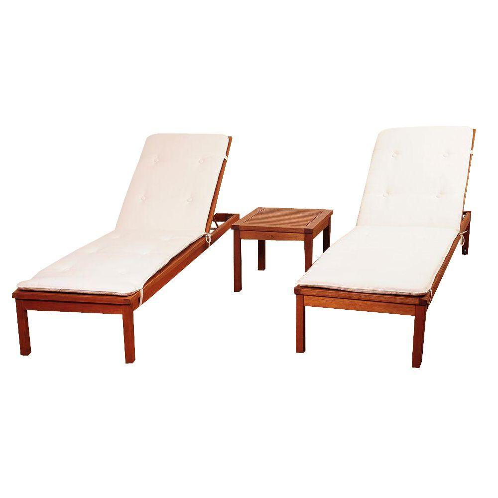 Murano 3-Piece Eucalyptus Wheel Patio Lounger Set with White Cushions