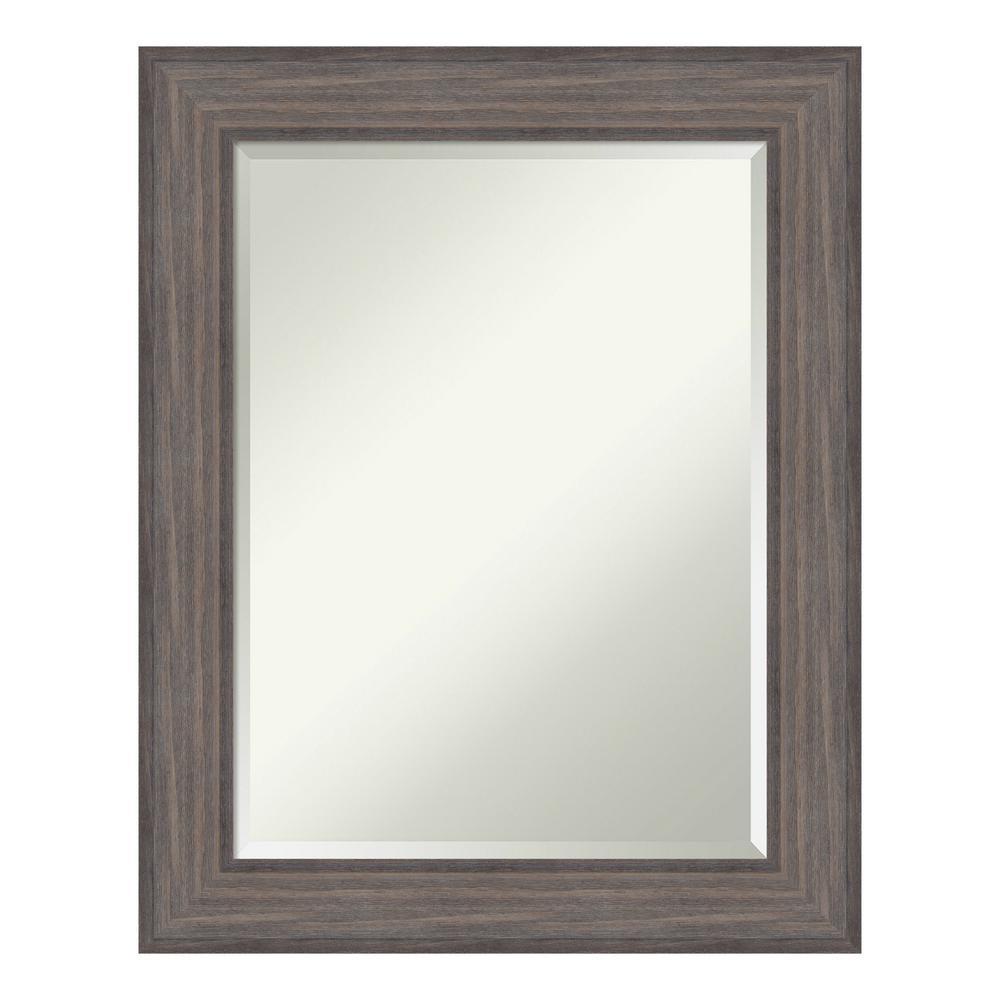 Country 24 in. W x 30 in. H Framed Rectangular Beveled Edge Bathroom Vanity Mirror in Rustic Barnwood