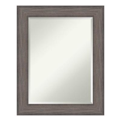 Country 24 in. W x 30 in. H Framed Rectangular Beveled Edge Bathroom Vanity Mirror in Rustic Barnwood