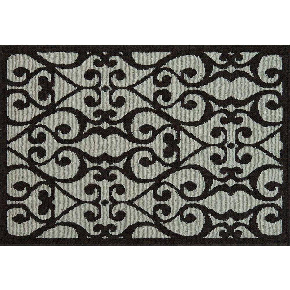 Loloi Rugs Augusta Lifestyle Collection Ivory Dark Brown 1 ft. 9 in. x 2 ft. 9 in. Accent Rug-DISCONTINUED