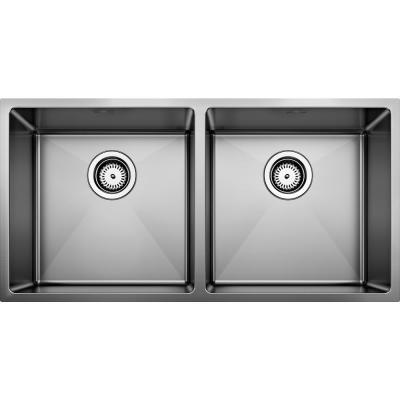QUATRUS R15 Satin Polished Stainless Steel 32 in. 50/50 Double Bowl Undermount Kitchen Sink