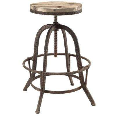 Collect 22 in. Brown Wood Top Bar Stool