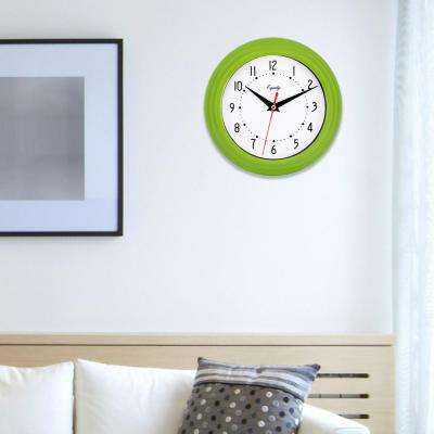 8 in. x 8 in. Round Green Plastic Wall Clock