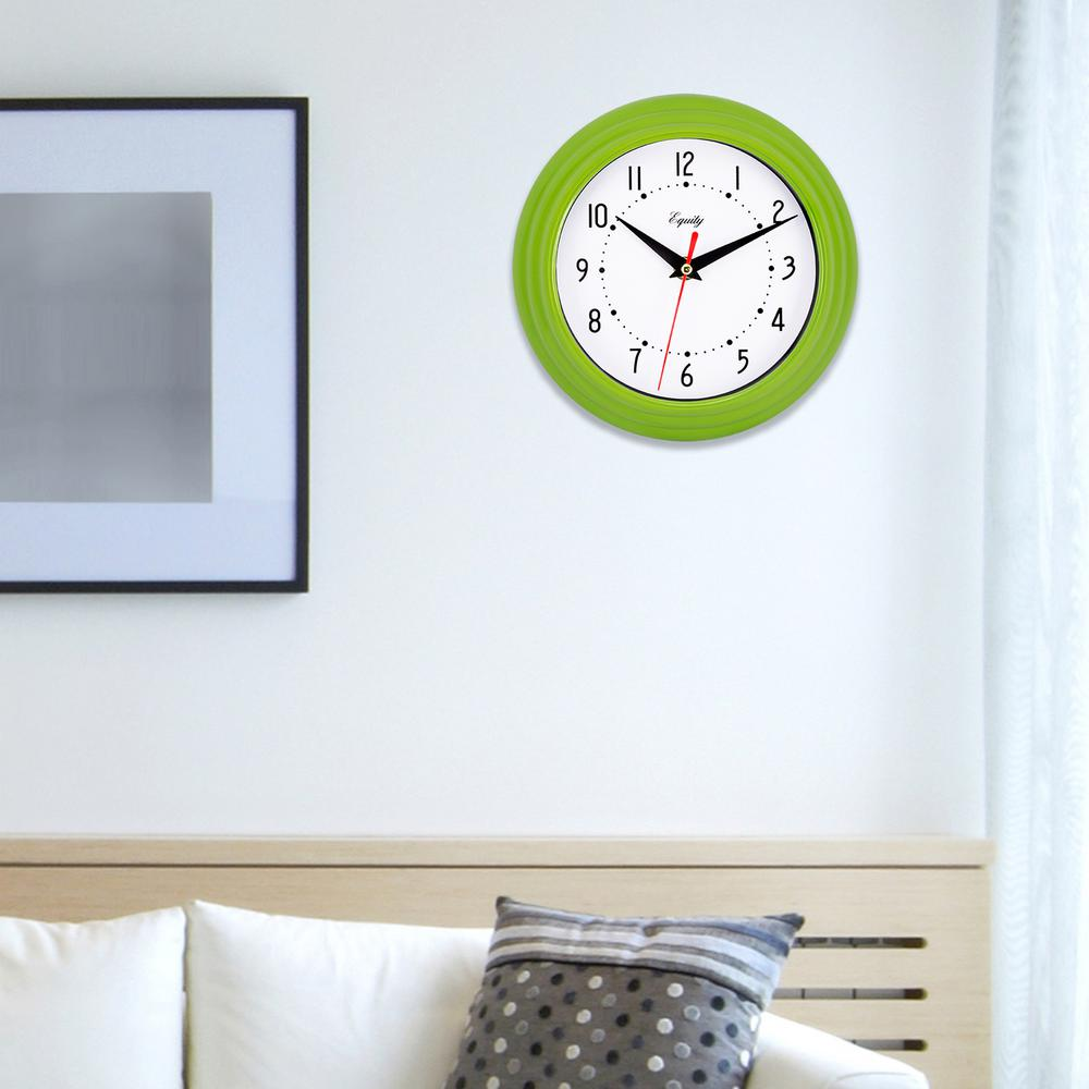 Equity by La Crosse 8 in. x 8 in. Round Green Plastic Wall Clock