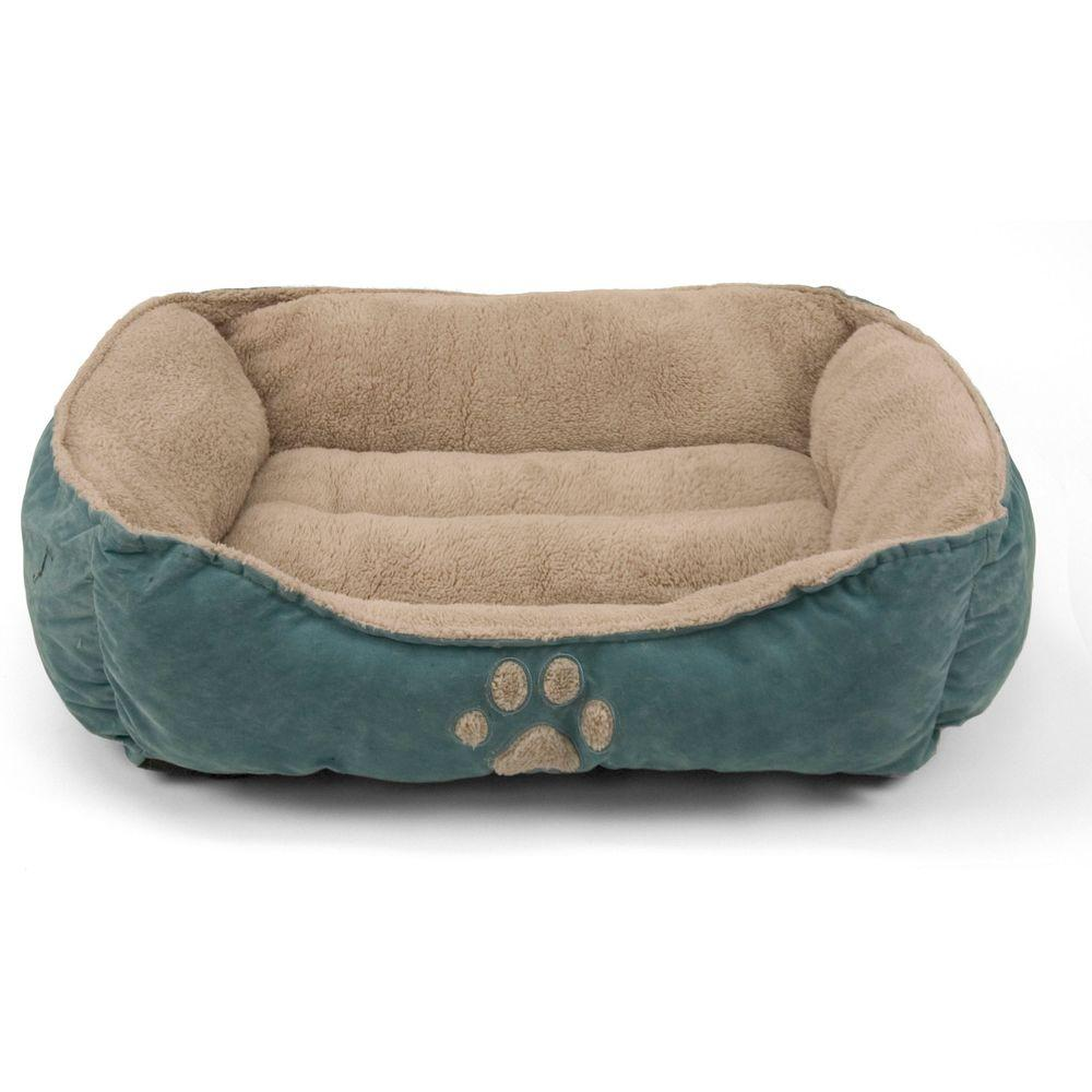 Brinkmann Pet Products 25 in. x 21 in. Blue Paw Print Box Bed