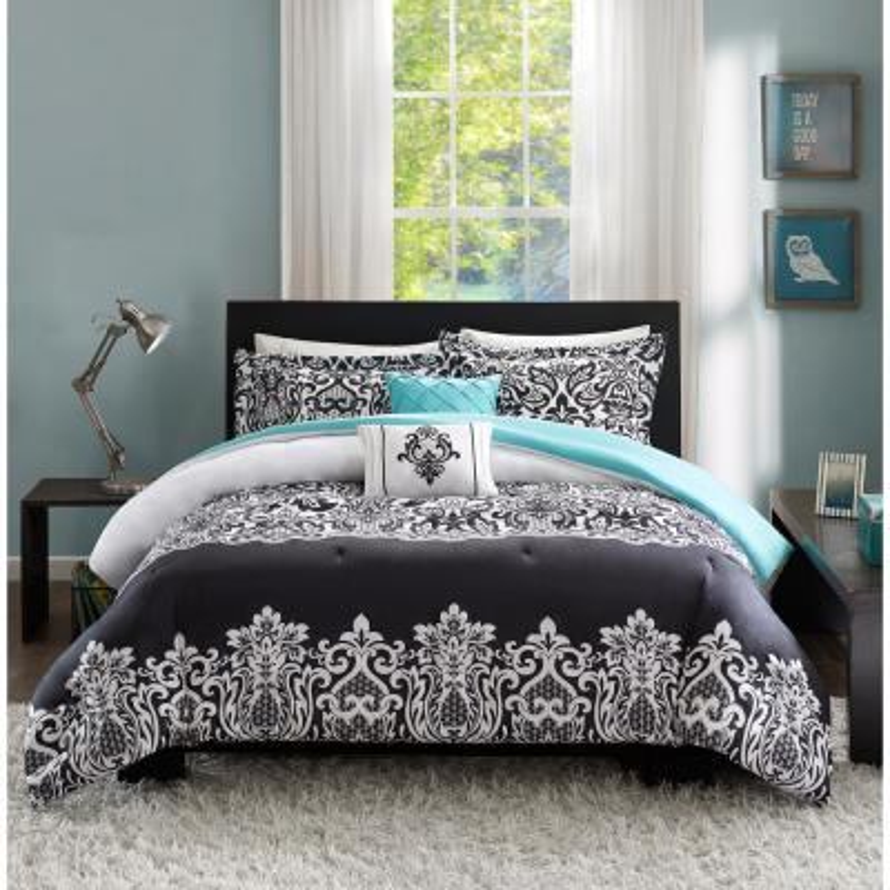 Hazel 5-Piece Black/Aqua Full/Queen Comforter Set