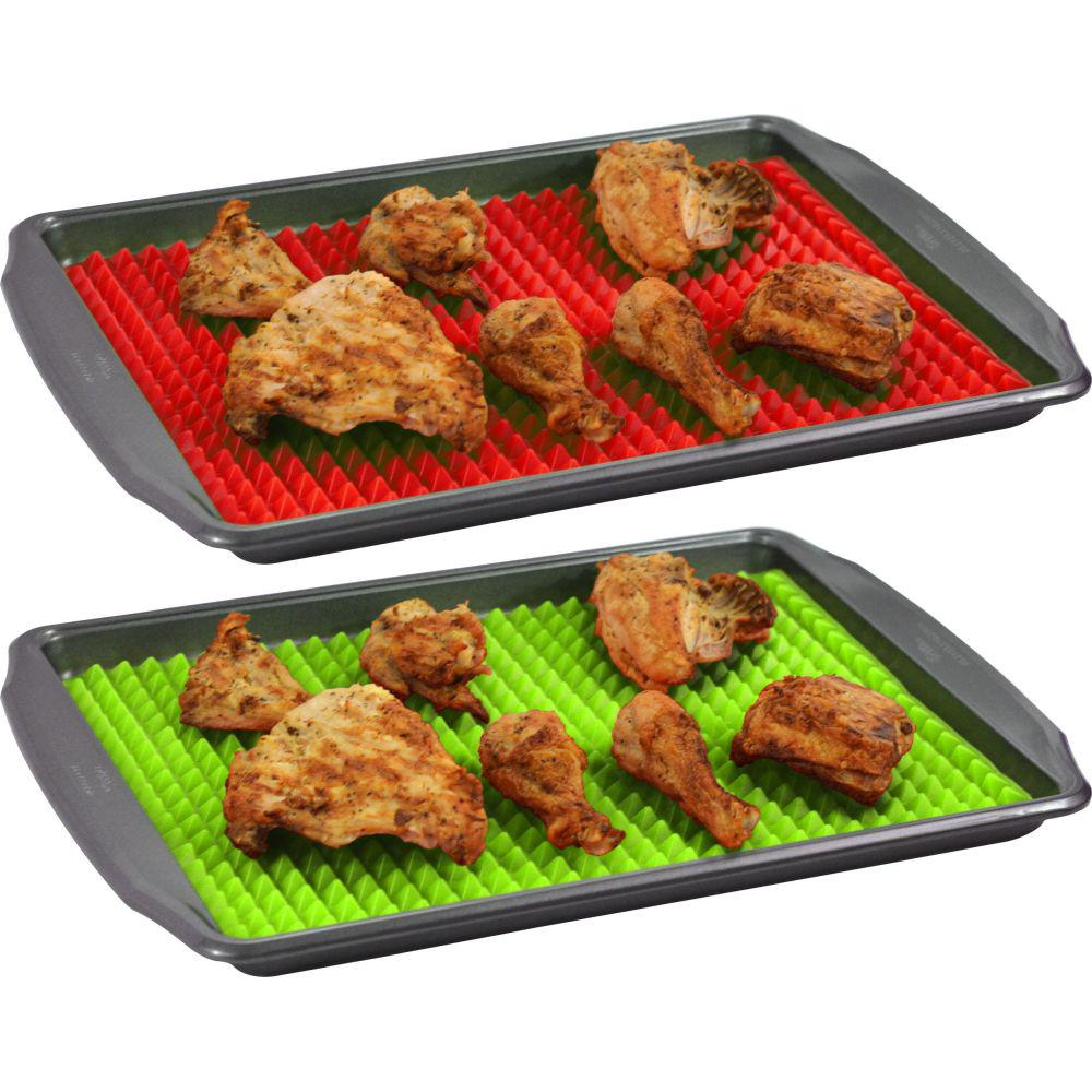 Southern Homewares Healthy Homewares Raised Silicone Baking Sheet Non-Stick Cooking Mat Oven Tray Liner Green