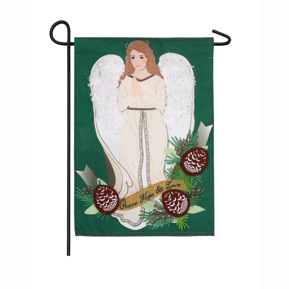 18 in. x 12.5 in. Peace Love Hope Angel Garden Linen Flag