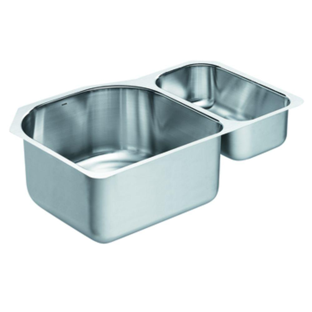 MOEN Lancelot Undermount Stainless Steel 30.25x20x10 0-Hole Double Bowl Kitchen Sink-DISCONTINUED