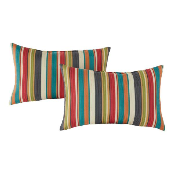 Sunset Stripe Outdoor Lumbar Throw Pillow (2-Pack)