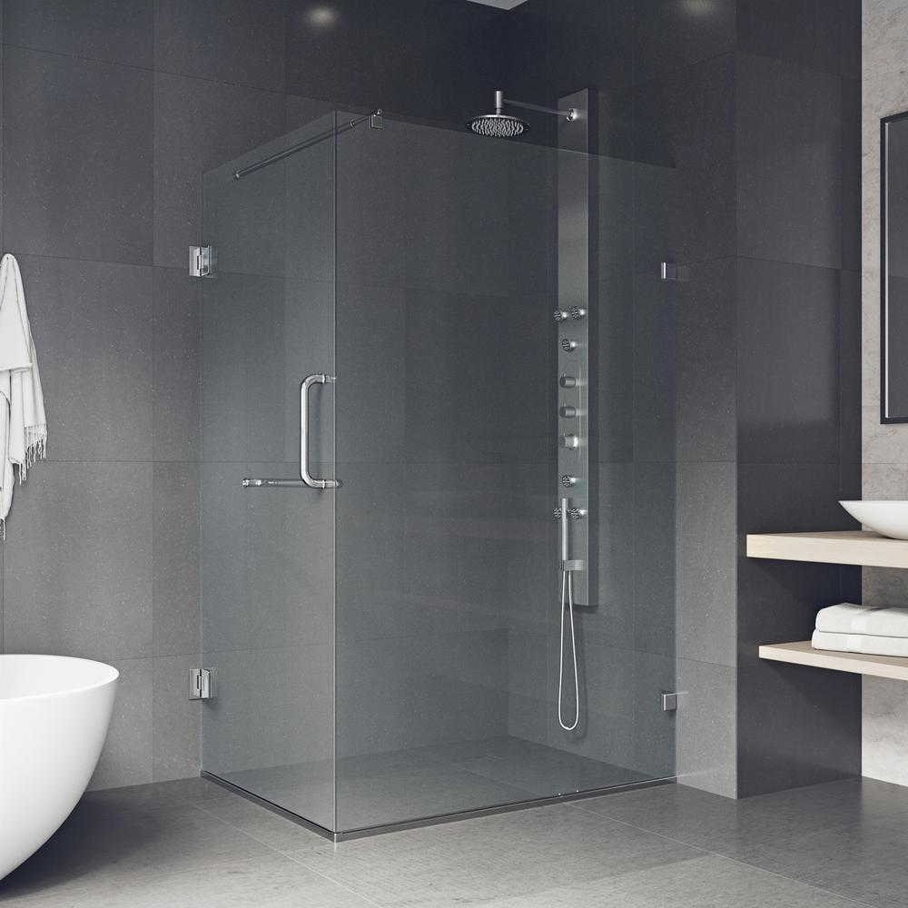 Pacifica 46 in. x 73.375 in. Frameless Corner Hinged Shower Enclosure