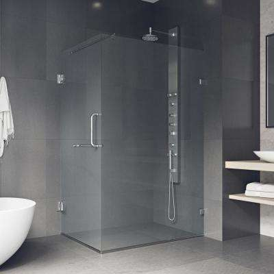 Pacifica 46 in. x 73.375 in. Frameless Corner Hinged Shower Enclosure in Chrome with Clear Glass
