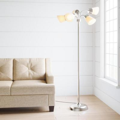 66 in. Satin Nickel Floor Lamp with 5 Plastic Bell Shades