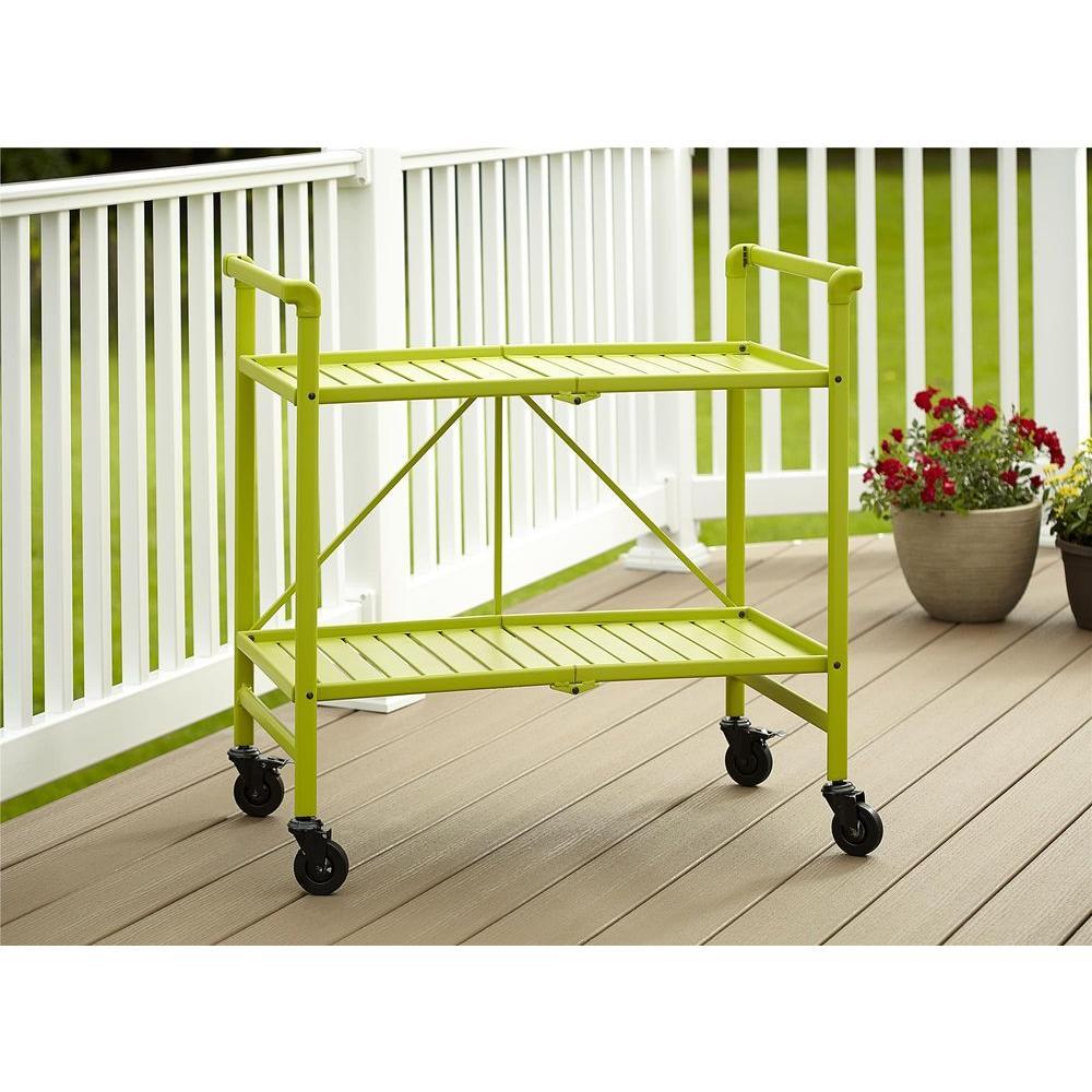 Cosco Smartfold Apple Green Serving Cart 87501apg1e The Home Depot