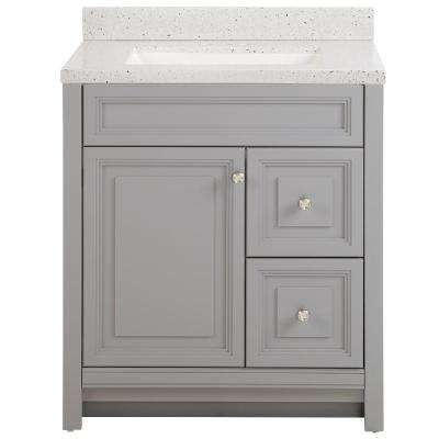 Brinkhill 31 in. W x 22 in. D Bath Vanity in Sterling Gray with Solid Surface Vanity Top in Silver Ash with White