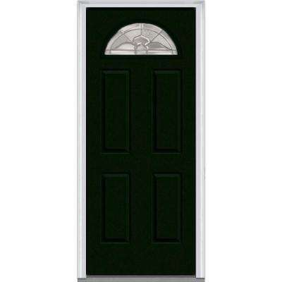 30 in. x 80 in. Master Nouveau Right-Hand Inswing 1/4-Lite Decorative Painted Fiberglass Smooth Prehung Front Door