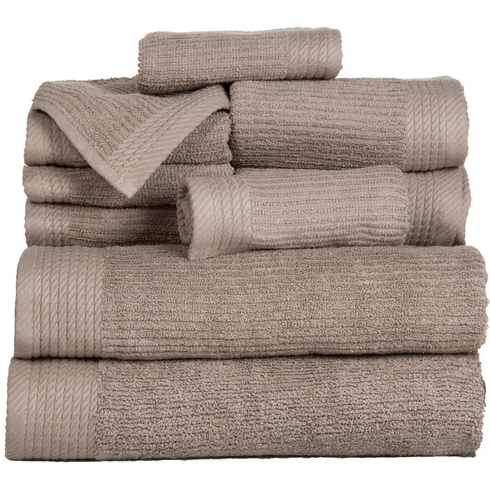 Ribbed 10-Piece Brown Solid Cotton Bath Towel Set