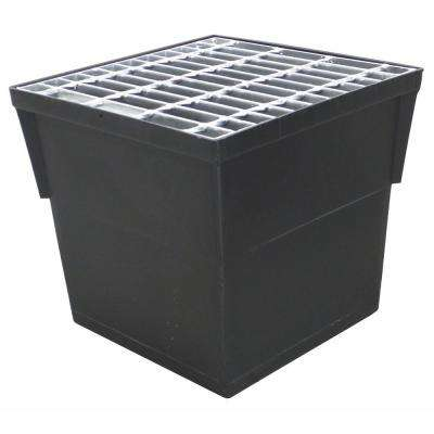 14 in. x 14 in. Storm Water Pit and Catch Basin for Modular Trench and Channel Drain Systems with Galvanized Steel Grate