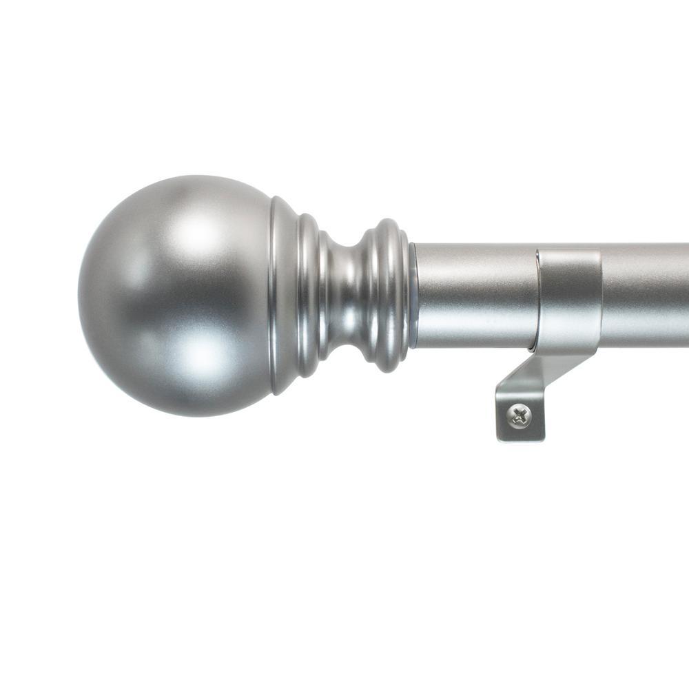 Decopolitan 18 in. - 36 in. Ball Telescoping 1 in. Dia Single Rod Set in Silver