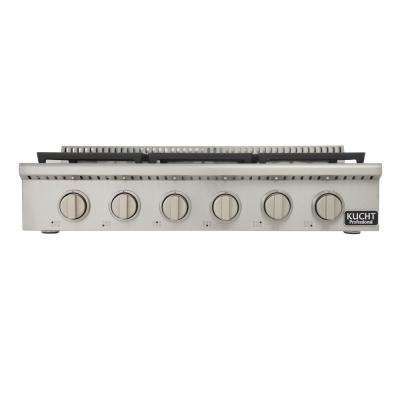 Professional 36 in. Propane Gas Range Top with 6 Sealed Burners in Stainless Steel