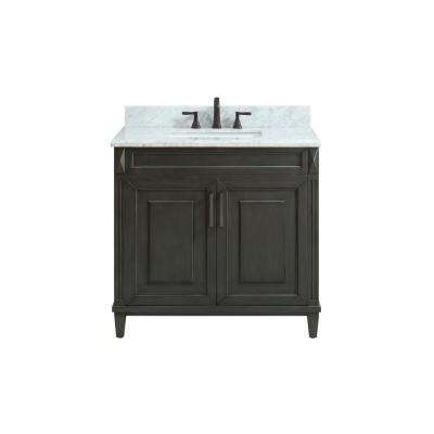 Sterling 37 in. W x 22 in. D x 35 in. H Vanity in Charcoal with Marble Vanity Top in Carrera White with White Basin