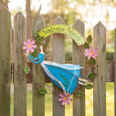 14.96 in. H Blue Metal Fairy Wreath
