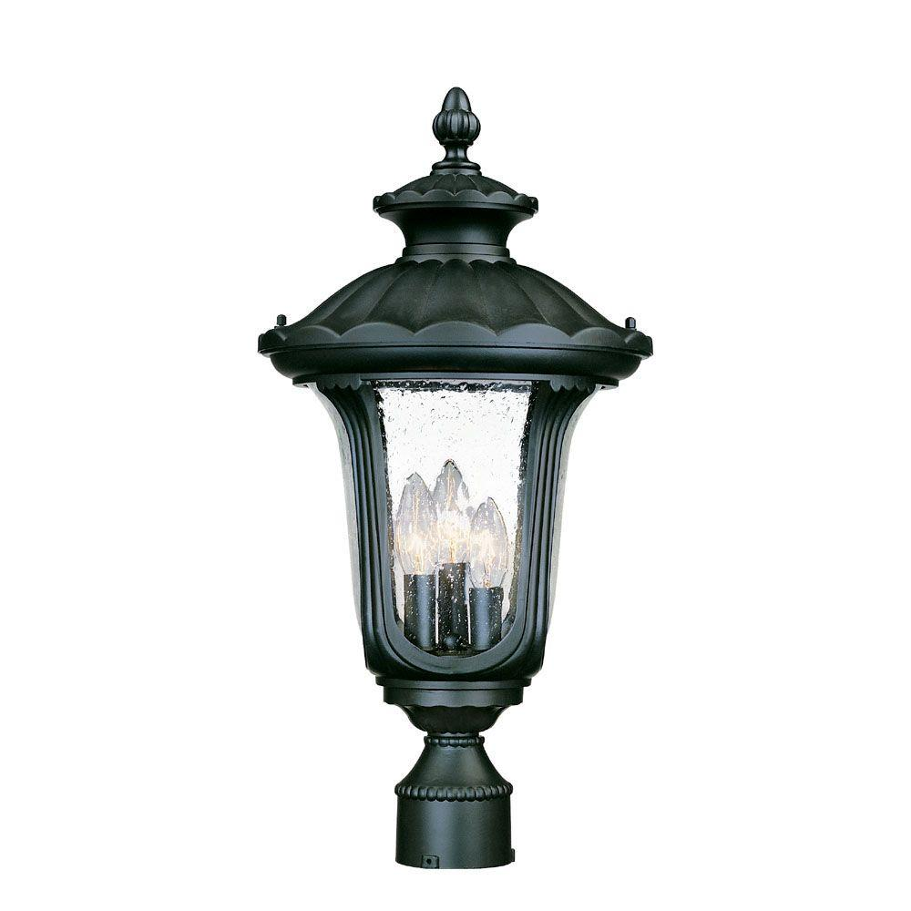 Augusta 3-Light Matte Black Outdoor Post-Mount Light Fixture