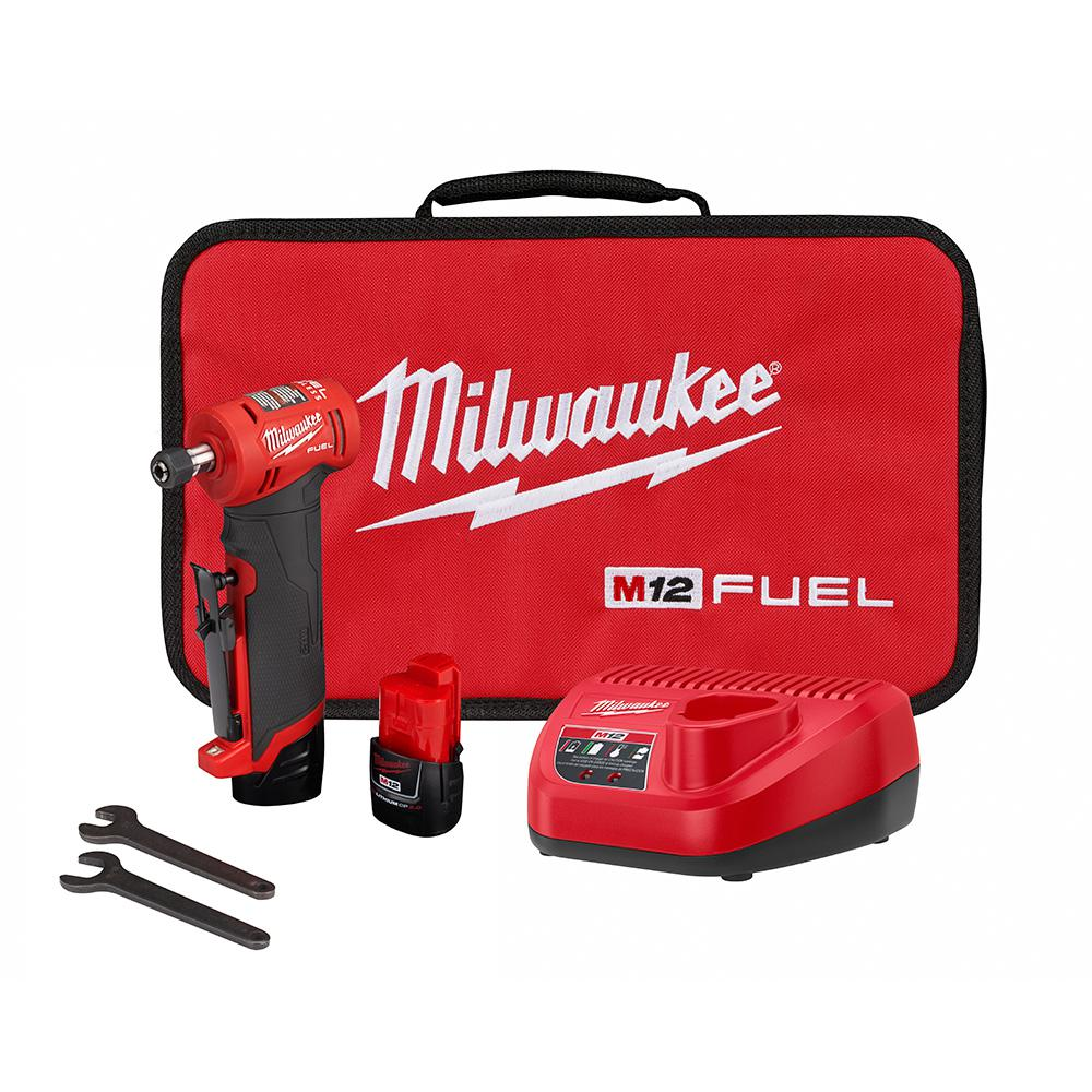 Milwaukee Milwaukee M12 FUEL 12-Volt Lithium-Ion Brushless Cordless 1/4 in. Right Angle Die Grinder Kit w/ (2) 2.0Ah Batteries