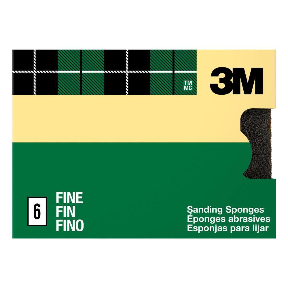 3.75 in. x 2.625 in. x 1 in. 80 Grit Fine Sanding Sponges (6-Pack)
