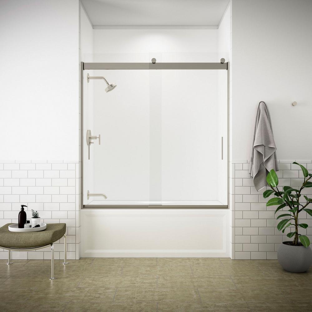 Levity 59 in. x 62 in. Semi-Frameless Sliding Tub Door in Nickel with Handle