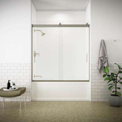 Levity 57 in. x 59.75 in. Semi-Frameless Sliding Tub Door in Nickel frame with Handle