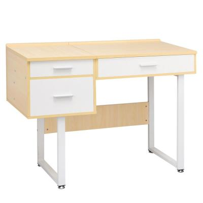 White Vanity Table with Flip Top Square Mirror Makeup Dressing Table Writing Table