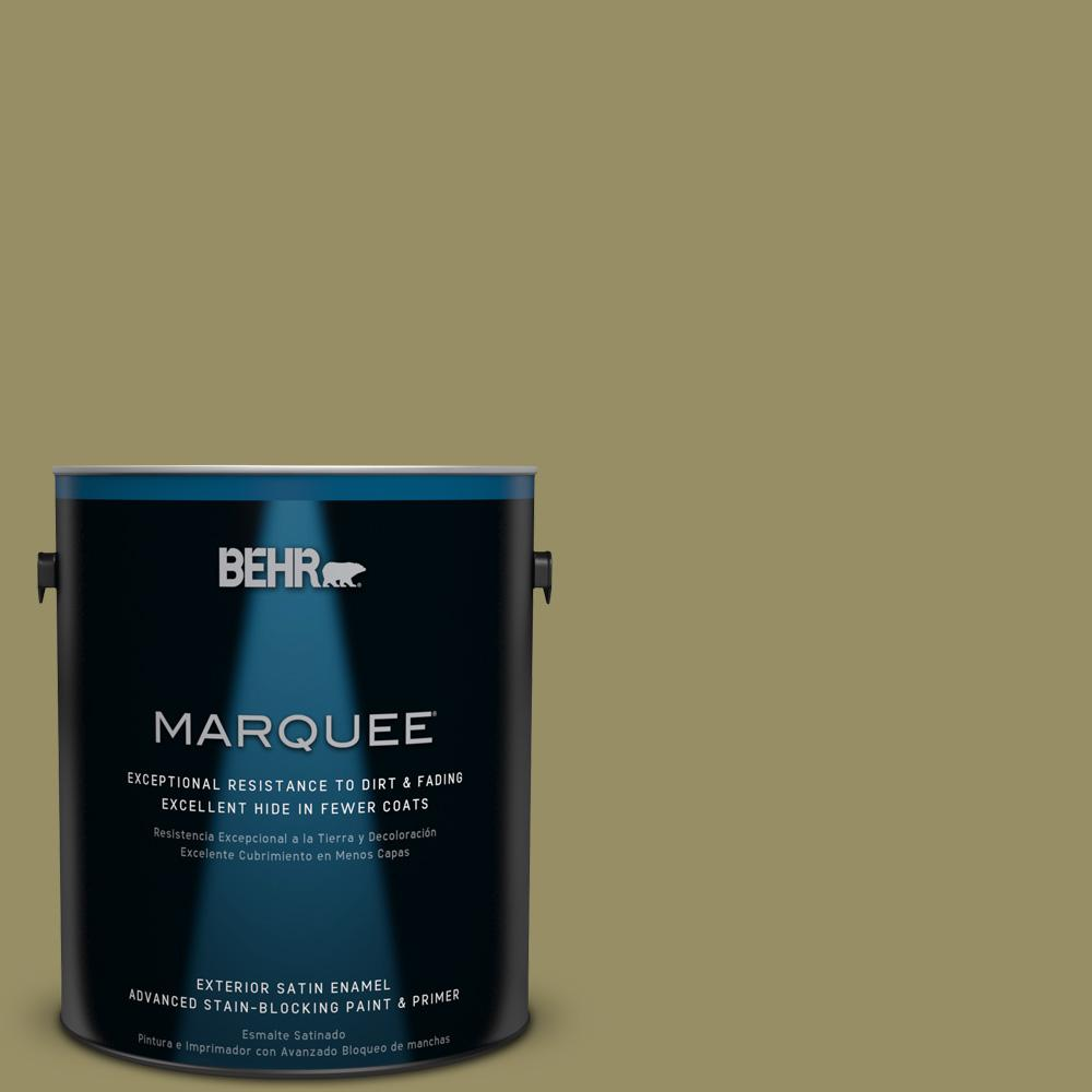 BEHR MARQUEE 1-gal. #390F-6 Tate Olive Satin Enamel Exterior Paint