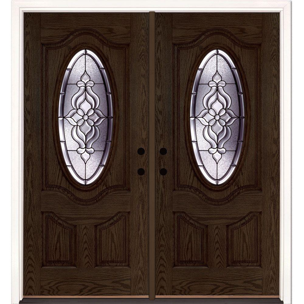 Feather river doors 74 in x in lakewood patina 3 for Glass door in front of exterior door