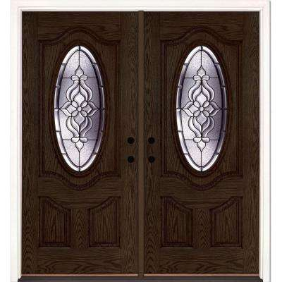 74 in. x 81.625 in. Lakewood Patina 3/4 Oval Lite Stained Walnut Oak Left-Hand Fiberglass Double Prehung Front Door