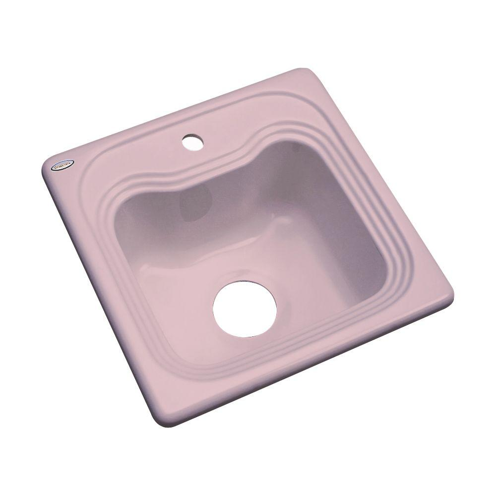 Thermocast Oxford Drop-In Acrylic 16 in. 1-Hole Single Bowl Entertainment Sink in Wild Rose