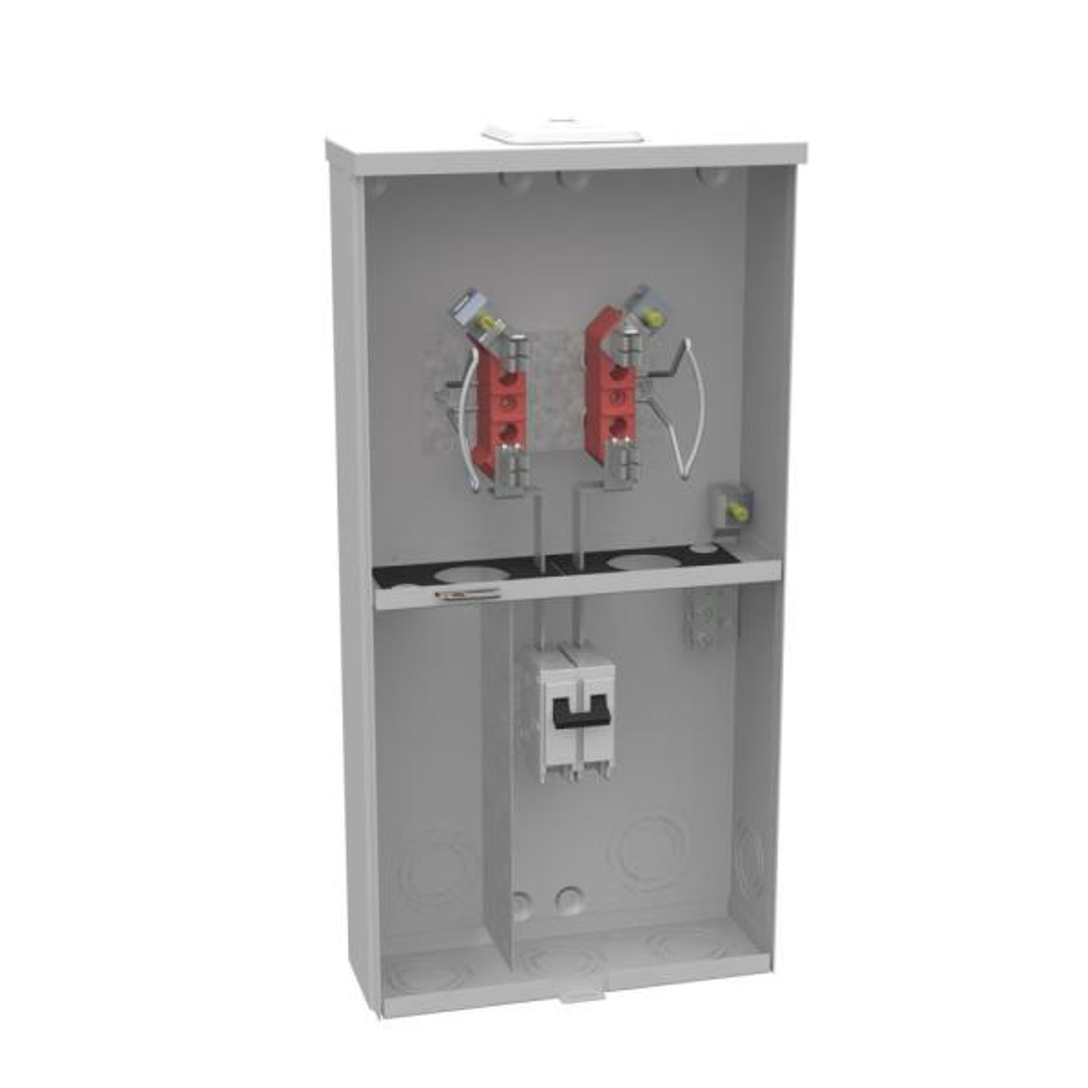 100 Amp 4 Terminal Ringless Overhead/Underground Meter Socket Main Breaker Combination