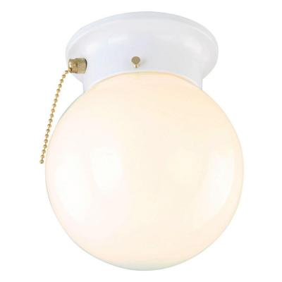 1-Light White Ceiling Light with Opal Glass with Pull Chain