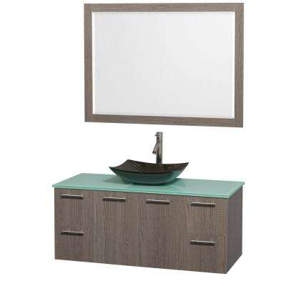 Amare 48 in. Vanity in Gray Oak with Glass Vanity Top in Green, Granite Sink and 46 in. Mirror